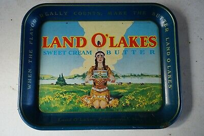 Vintage Metal Land O'Lakes Sweet Cream Butter Advertising Tray - Great Color