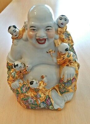 "Antique 8"" Chinese Buddha Porcelain Laughing Famille Rose Gold Gilt"