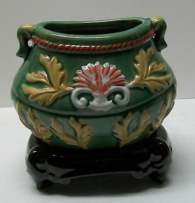 Planter Bamboo Vase Leaves Designs Green Yellow Pink Brown Stand Vintage