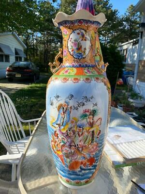 """Superb Antique 32"""" Chinese Double Handled Vase People Fish Cranes Birds Flowers"""