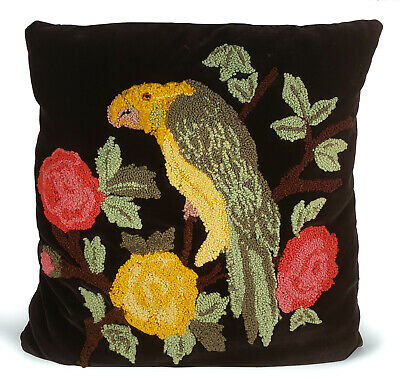Vintage Black Velvet Throw Pillow With Colorful Parrot Flowers Crewel Embroidery
