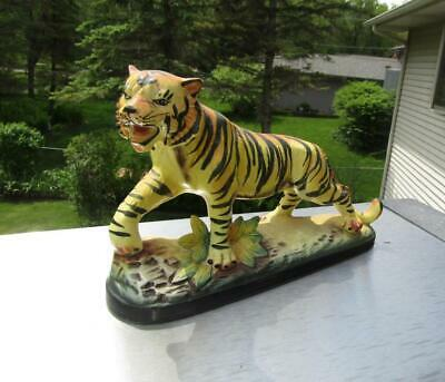 "Vintage Ceramic Tiger Figurine by Exclusive B P of Japan 9"" long 6"" Tall"
