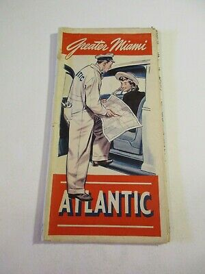 Vintage Carrier Service Atlantic White Flash Greater Miami Florida Road Map~11
