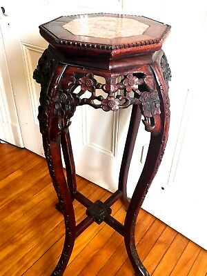 Antique Chinese Carved Rosewood / Marble / Tall Stand