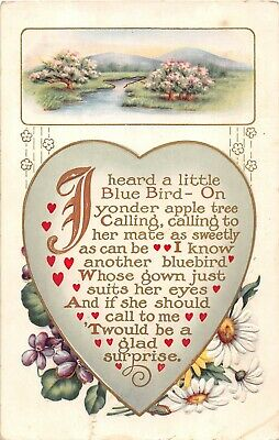 Mountain & River Scene Above Heart With Verse, Violets, & Daisies-Old Postcard