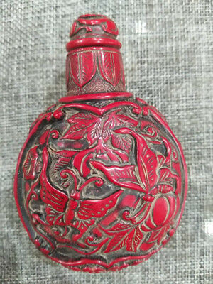 China Old Beijing old Red coral carved snuff bottle