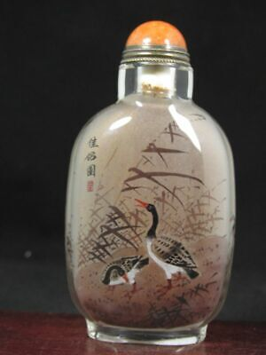 Chinese Duck Inside Hand Painted Glass Snuff Bottle