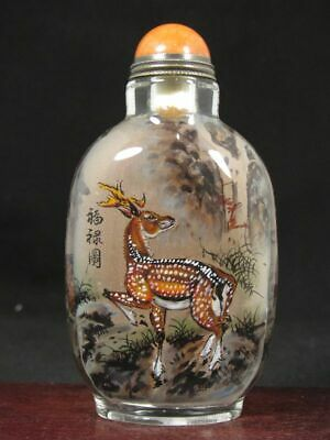 Chinese Deer Hand Painted Glass Snuff Bottle