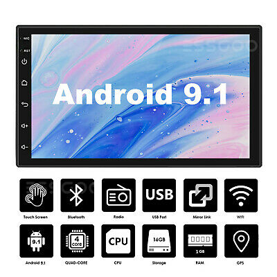 "7"" Android 9.1 Car Stereo GPS Navigation Radio Player Double 2 Din WIFI USB MP5"