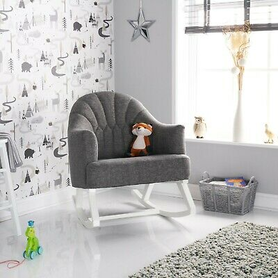 Obaby Round Back Rocking Chair – White with Grey Padded Seat - JUNE OFFER