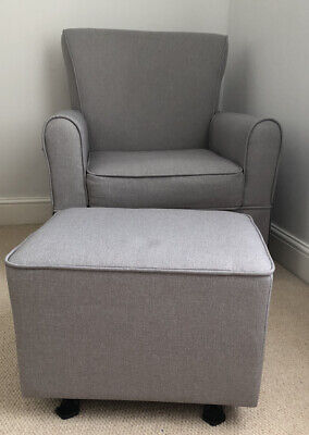 Gliding Rocking Nursing Chair & Footstool- Mothercare Taplow In Light Grey