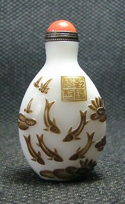 Chinese Glass Delicate Carve Lotus leaf And Fish Design Snuff Bottle==