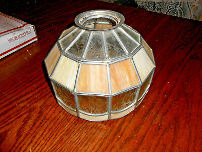 Mission Arts & Crafts Tiffany-Style Leaded Stained & Slag Glass Lamp Shade 9 1/2