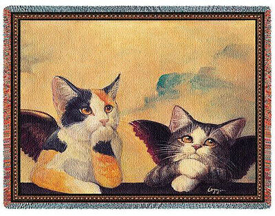 Throw Tapestry Afghan - Cherub Cats 1857