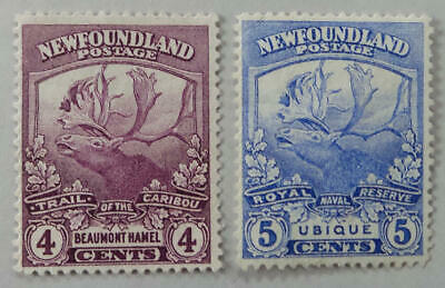 Newfoundland 1919 4 Cent & 5 Cent Trail of the Caribou Used  Stamps #118-119