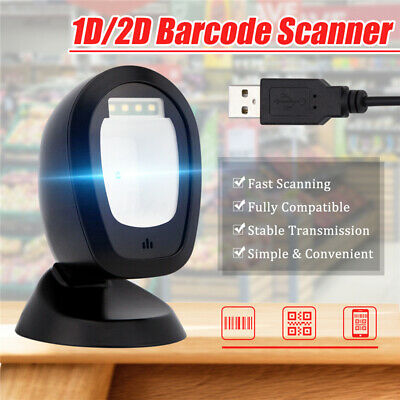 2D USB Omnidirectional Hands Free Barcode Scanner Desktop Bar Code Reader