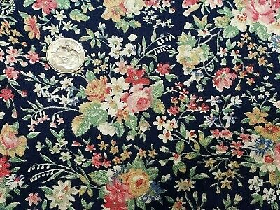 Vintage Cotton Fabric Quilt Sew Material Craft Floral Navy Blue 44x2Yds Estate