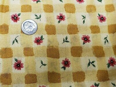 Vintage Cotton Fabric Quilt Sew Material Craft Floral Yellow 44x2Yds Estate