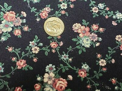 Vintage Cotton Fabric Quilt Sew Material Craft Floral Navy Blue 3 Pieces Estate