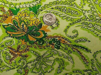 Vintage Cotton Fabric Quilt Sew Material Craft 1940s Floral Paisley Lime Green