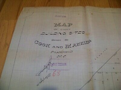 1800's Map Plainfield NJ Cook & Manning Dunham Engineers James S. Vosseller