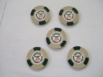 Lot Of 5 $2 Dollar Poker Chips From Soper's Montgomery Lodge Montgomery Pass NV