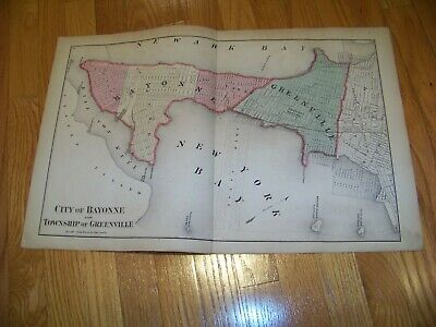 1872 Map F. W. Beers, Comstock & Cline Bayonne Greenville Montclair New Jersey