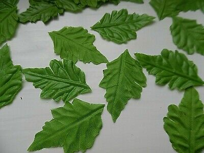 100 SMALL LIGHT green SILK OAK LEAVES/CRAFTS/DECORATION/WEDDING/AUTUMN/CHRISTMAS