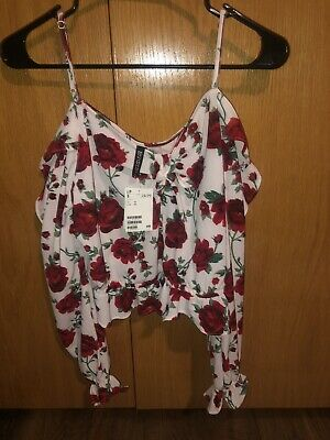 womens tops Size 12 H&M Flowy Flowers Cute White Red NWT Crop Cold Shoulder