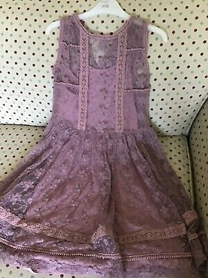 Girls Next dusky pink lace dress age 11