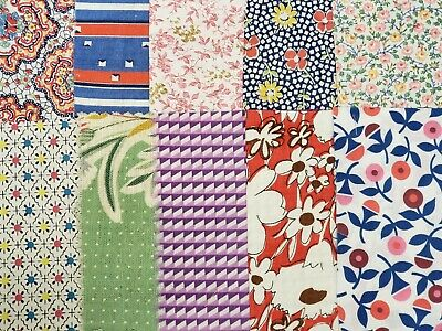 10 BEST 1920s Print Vintage Cotton Quilt Fabric Scraps Sweet Flapper Remnants