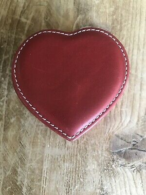 COACH Heart Shaped Trinket Ring Jewelry Box Red Leather 2 3/4""