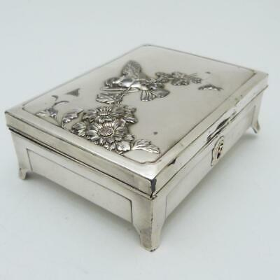 Antique Japanese Silver Cigarette Box Converted To A Jewellery Box, Meiji Period