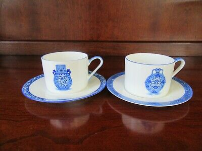 2 - Bone China Tang Shan Blue White Tea Cup & Saucer Sets