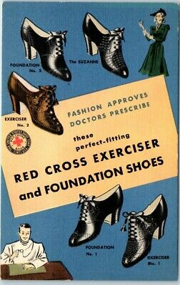 """1940s LINEN Advertising Postcard RED CROSS SHOES """"Excelsior & Foundation Shoes"""""""