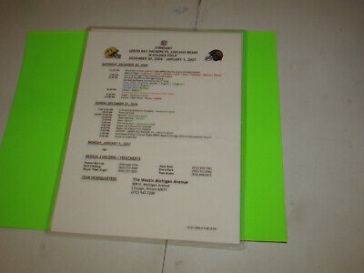 2006 Green Bay Packers Vs Chicago Bears Game Used Game Itinerary @ Soldier Field