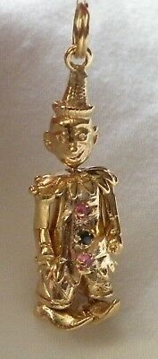 14K GOLD 3D Jointed CLOWN Charm w/ 2-Ruby 1-Sapphire Pendant