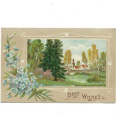 Antique Greeting Card Lightly Embossed - BEST WISHES - Postcard c.1910 - PC311