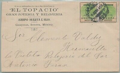 Mexico Postal History Advert Cover Sonora Stamps Addr Hermosillo Canc Yr'1915