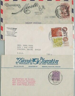Mexico Postal History 3 Covers Address Usa