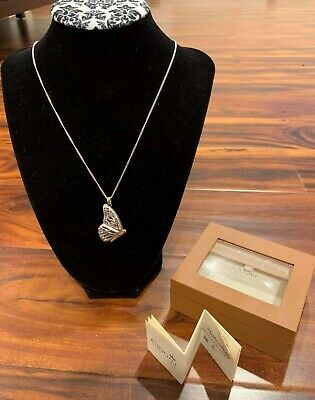 Welsh CLOGAU Sterling Silver & Rose Gold Large Butterfly Locket Pendant Necklace