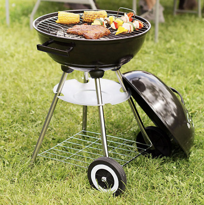 BBQ GRILL BARBECUE CHARBON DE BOIS FUMOIR SMOKER - (Barbecue rond avec couvercle