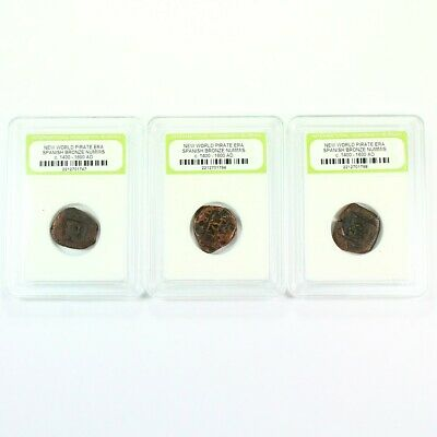 3 Pirate Era - 1600's Early America Spanish Bronze Cobs Exact Lot Shown 8081