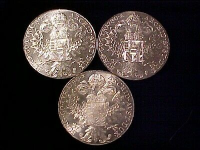Austria Maria Theresa Silver Thaler Restrikes 1780 Lot Of (3) Three Bu/Au Coins