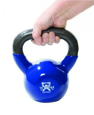 Kettlebell Vinyl Coated Weight Blue 15lb 9 Diameter