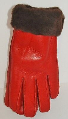 NEW Womens Warm Red Winter Sheepskin Shearling Gloves Real Leather S-M
