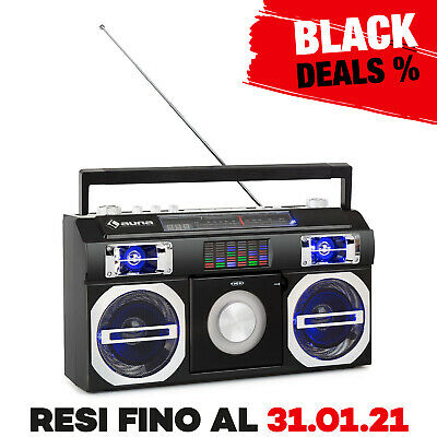 Ghettoblaster Stereo Portatile Boombox Lettore CD Bluetooth Antenna USB MP3