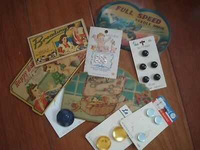 VINTAGE BUTTONS AND NEEDLE HOLDERS 1950's