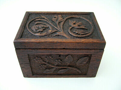 English, Hand Carved Oak Dovetailed, 'Arts & Crafts' Box .Floral / Gothic Detail