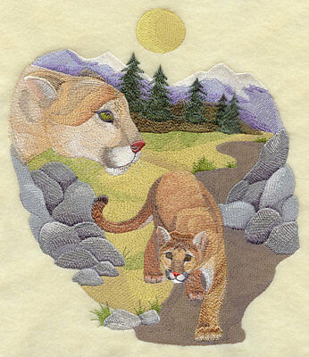 Embroidered Long-Sleeved T-Shirt - Spirit of the Cougar J2791 Sizes S - XXL